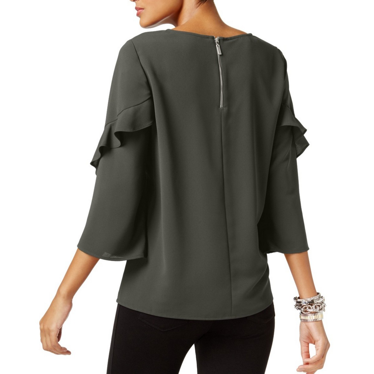 ALFANI-NEW-Women-039-s-3-4-Ruffled-sleeve-Zip-back-Blouse-Shirt-Top-TEDO thumbnail 13