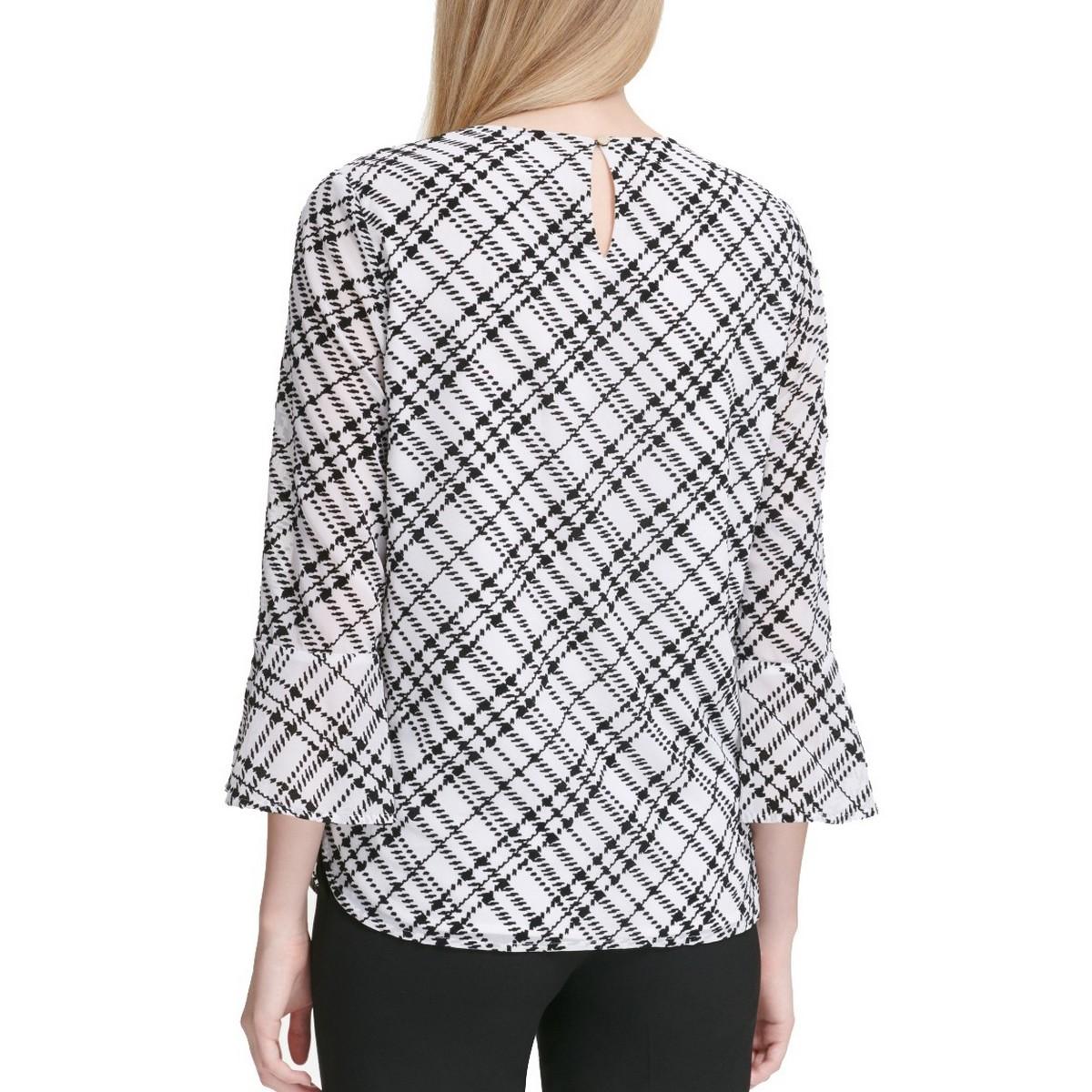 CALVIN-KLEIN-NEW-Women-039-s-Printed-Bell-sleeve-Blouse-Shirt-Top-TEDO thumbnail 6