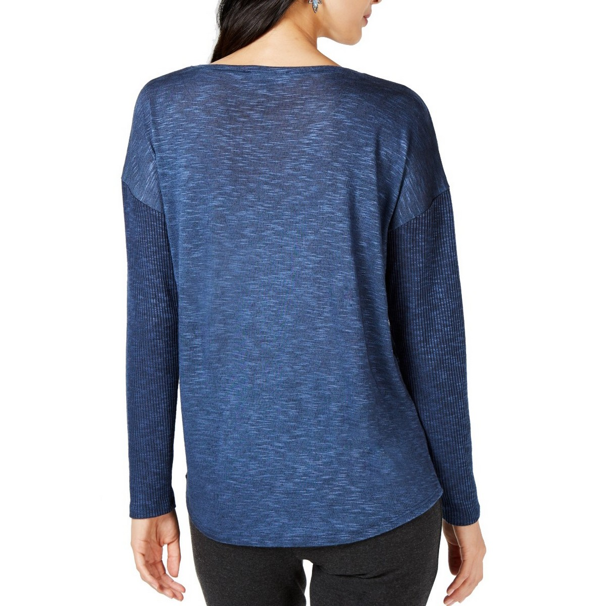 INC-NEW-Women-039-s-Long-Sleeve-Mixed-media-Knit-Casual-Shirt-Top-TEDO thumbnail 4