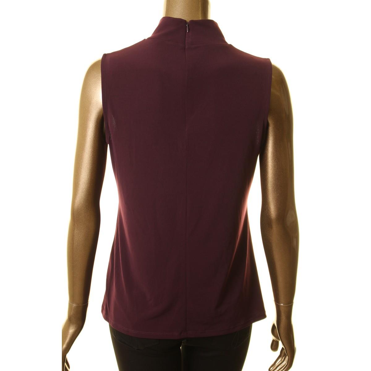 CALVIN-KLEIN-NEW-Women-039-s-Mixed-media-Mock-Neck-Blouse-Shirt-Top-TEDO thumbnail 4
