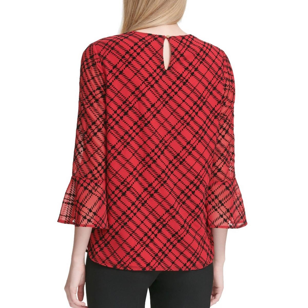 CALVIN-KLEIN-NEW-Women-039-s-Printed-Bell-sleeve-Blouse-Shirt-Top-TEDO thumbnail 4