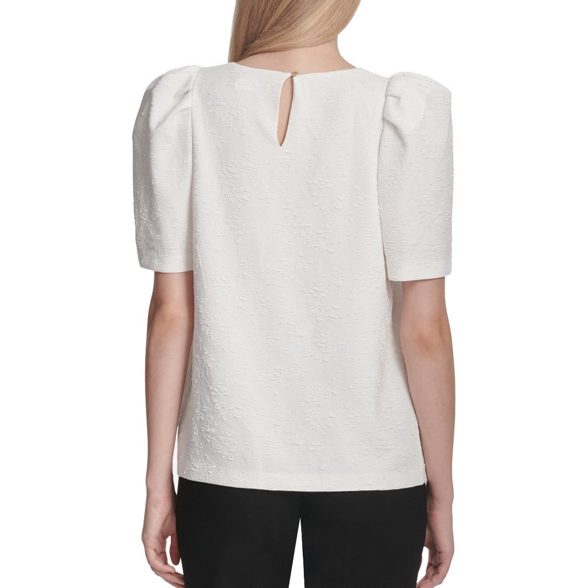 CALVIN-KLEIN-NEW-Women-039-s-Embroidered-Puff-Sleeve-Blouse-Shirt-Top-TEDO thumbnail 4