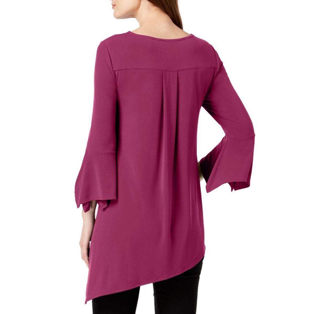 ALFANI-NEW-Women-039-s-Square-Sleeve-Asymmetrical-Blouse-Shirt-Top-TEDO thumbnail 4