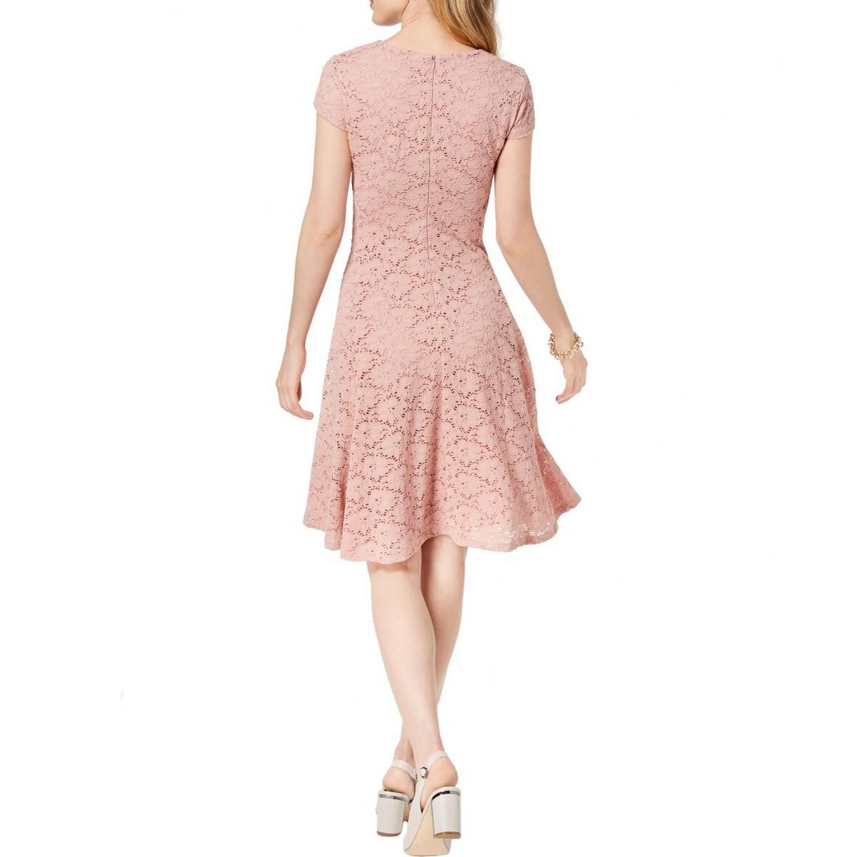 ALFANI-NEW-Women-039-s-Lace-Cap-Sleeves-Above-Knee-Fit-amp-Flare-Dress-TEDO thumbnail 6