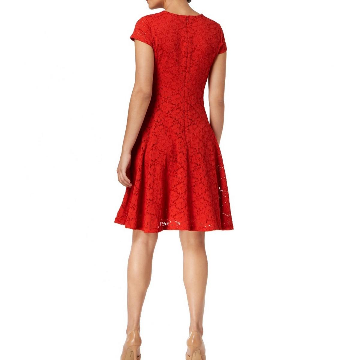 ALFANI-NEW-Women-039-s-Lace-Cap-Sleeves-Above-Knee-Fit-amp-Flare-Dress-TEDO thumbnail 4