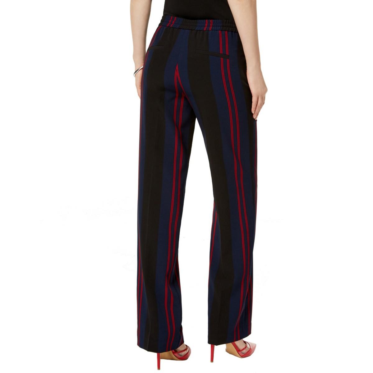 INC NEW Women/'s Striped Drawstring Regular Mid Rise Wide Leg Pants TEDO