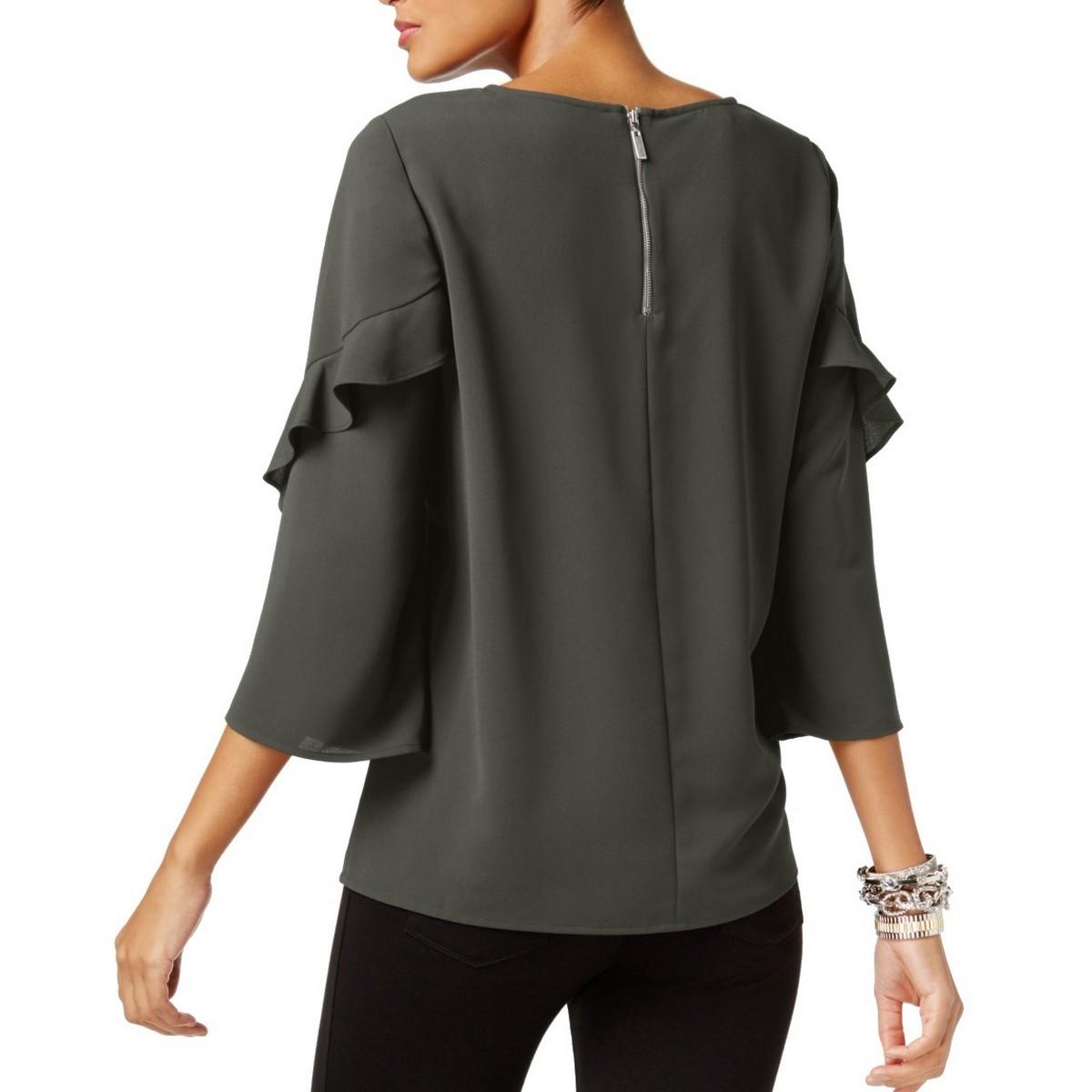 ALFANI-NEW-Women-039-s-3-4-Ruffled-sleeve-Zip-back-Blouse-Shirt-Top-TEDO thumbnail 7