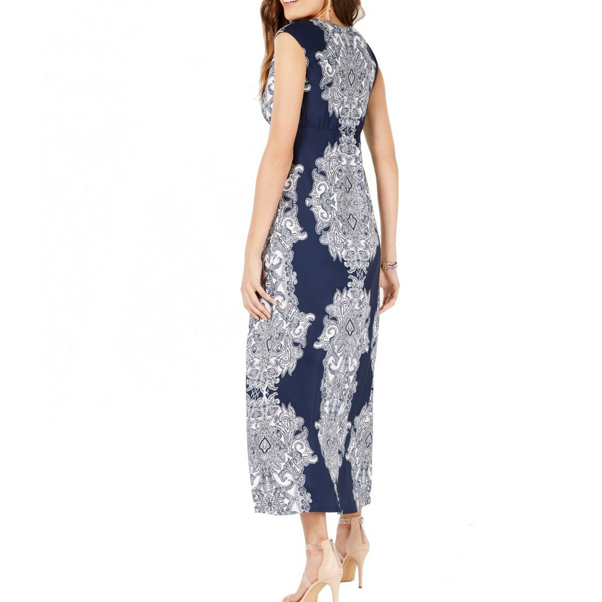 INC-NEW-Women-039-s-Scroll-print-Surplice-Cap-sleeve-Maxi-Dress-TEDO thumbnail 4