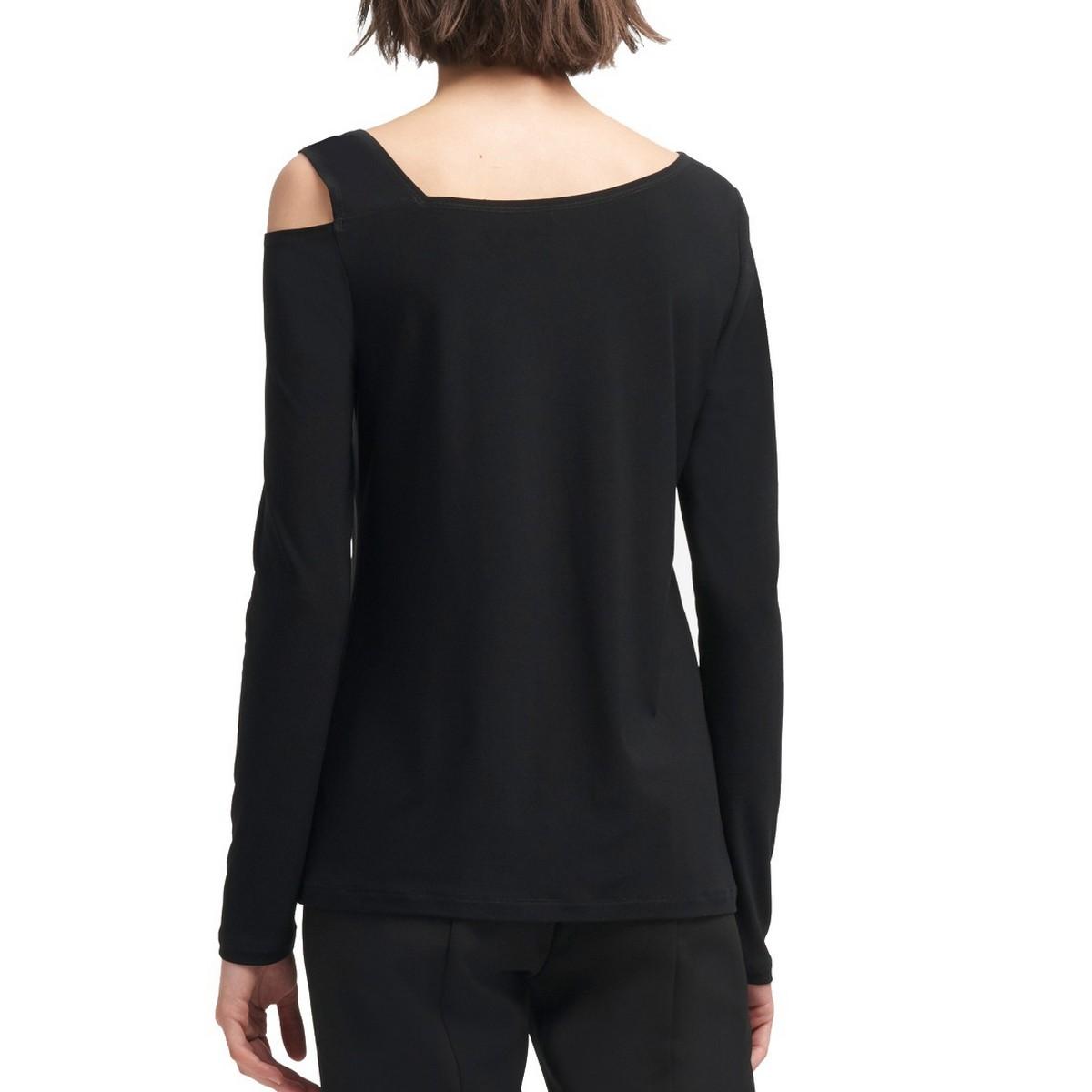 DKNY-NEW-Women-039-s-Asymmetrical-Cold-shoulder-Blouse-Shirt-Top-TEDO thumbnail 3