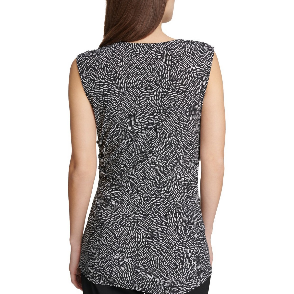 DKNY-NEW-Women-039-s-Printed-Sleeveless-Ruched-Blouse-Shirt-Top-TEDO thumbnail 4