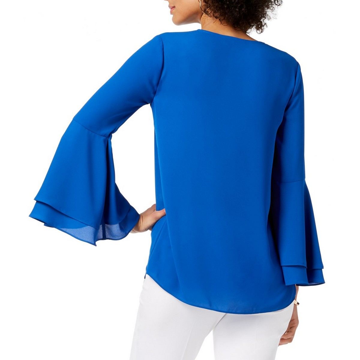 ALFANI-NEW-Women-039-s-V-neck-Bell-Sleeve-Blouse-Shirt-Top-TEDO thumbnail 6