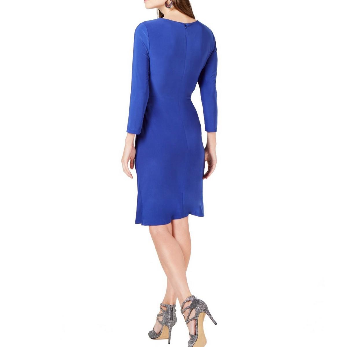 INC-NEW-Women-039-s-Solid-Ruched-3-4-sleeve-V-Neck-Sheath-Dress-TEDO thumbnail 6