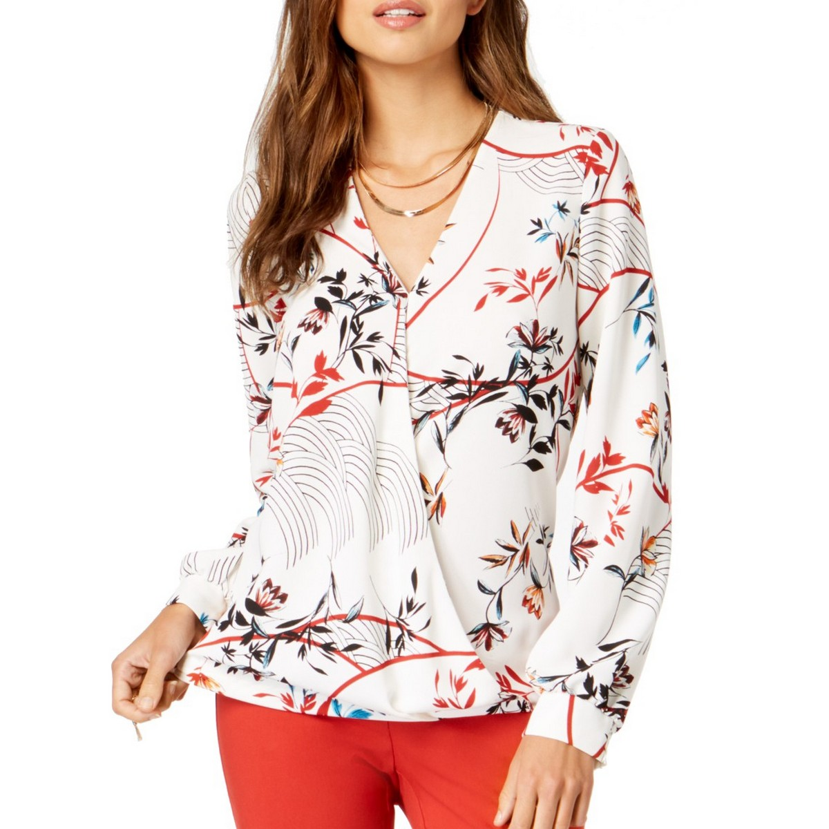 ALFANI-NEW-Women-039-s-White-Floral-Print-Surplice-Blouse-Shirt-Top-XL-TEDO