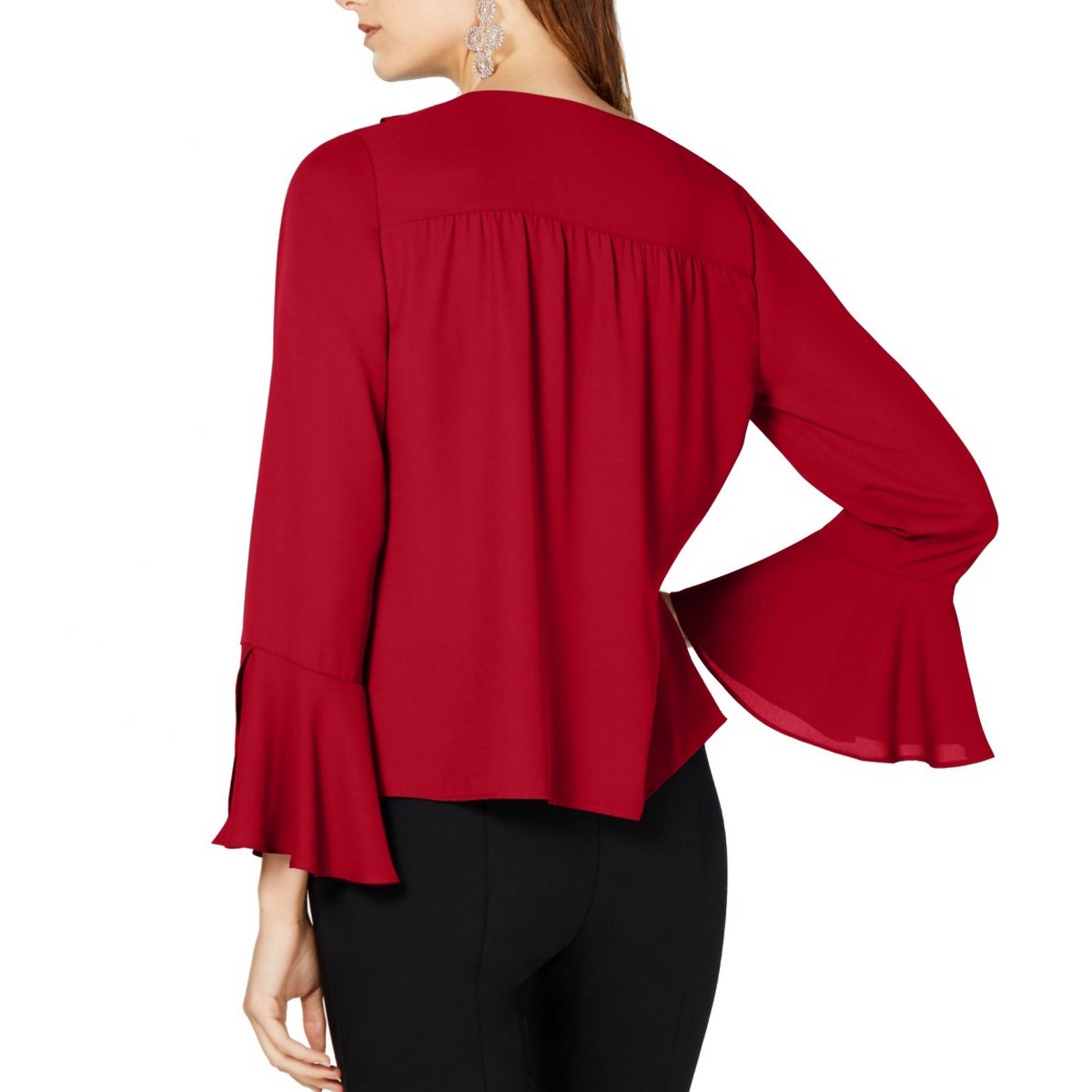 INC-NEW-Women-039-s-Ruffled-Bell-Sleeve-V-Neck-Blouse-Shirt-Top-TEDO thumbnail 4