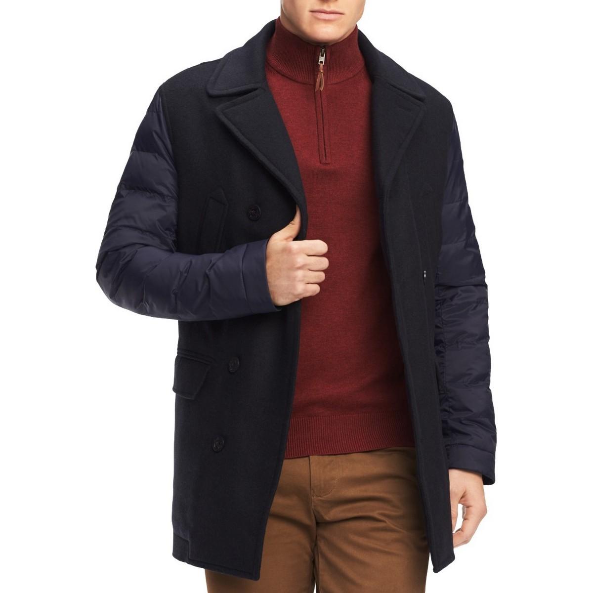 TOMMY HILFIGER Men/'s Grant Puffer-sleeve Utility Pea Coat Jacket TEDO