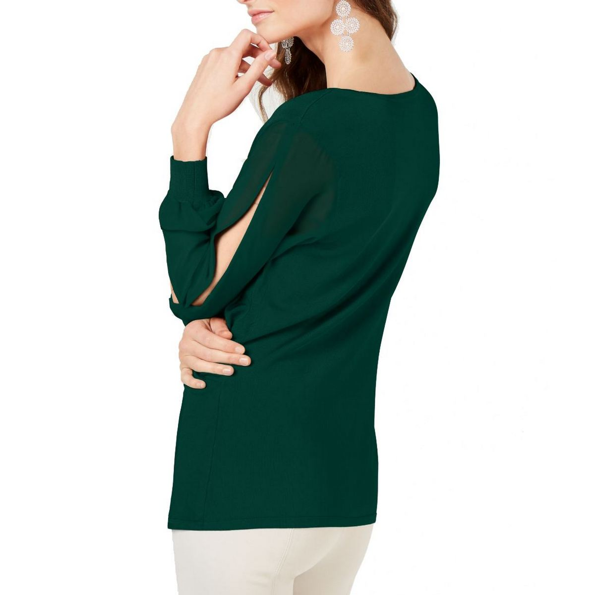 INC-NEW-Women-039-s-Surplice-Illusion-sleeve-Knit-Blouse-Shirt-Top-TEDO thumbnail 3