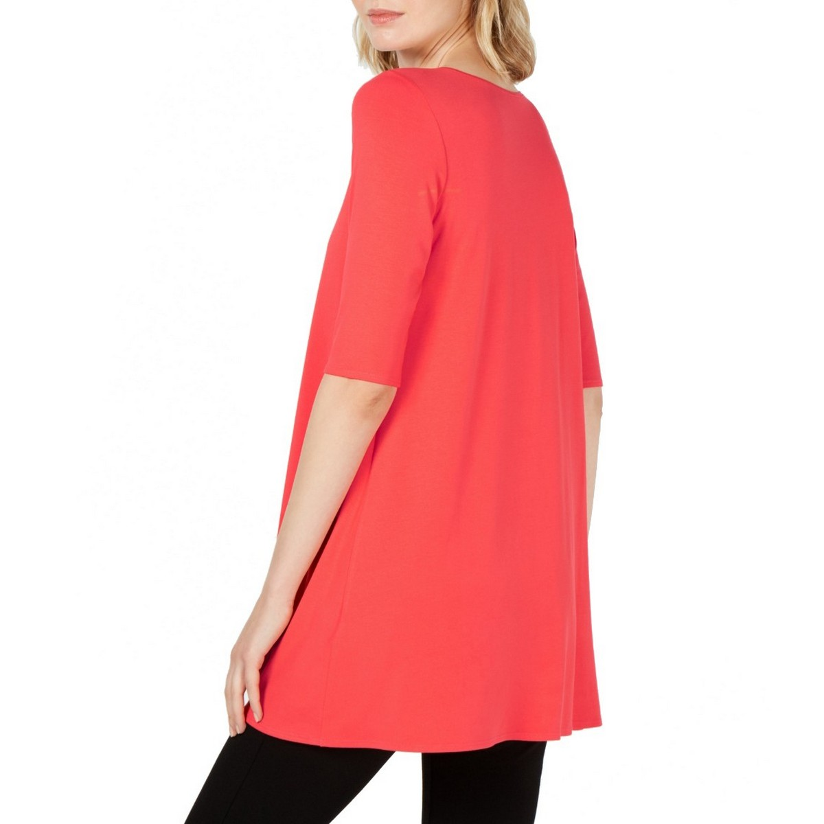 EILEEN-FISHER-NEW-Women-039-s-Jersey-Scoop-Neck-Elbow-Sleeve-Tunic-Shirt-Top-TEDO thumbnail 5