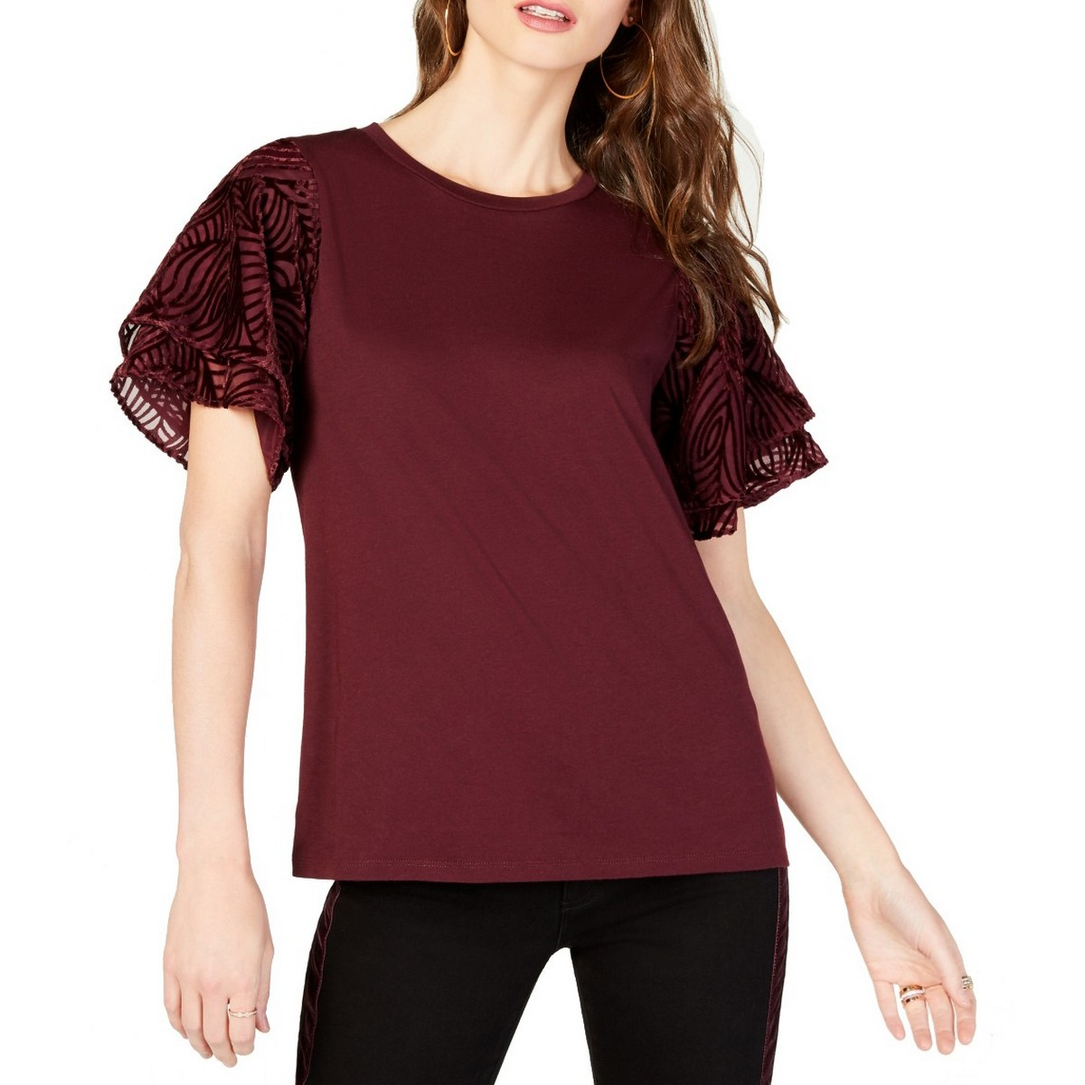 MICHAEL-KORS-NEW-Women-039-s-Velvet-Flutter-Sleeve-Blouse-Shirt-Top-TEDO