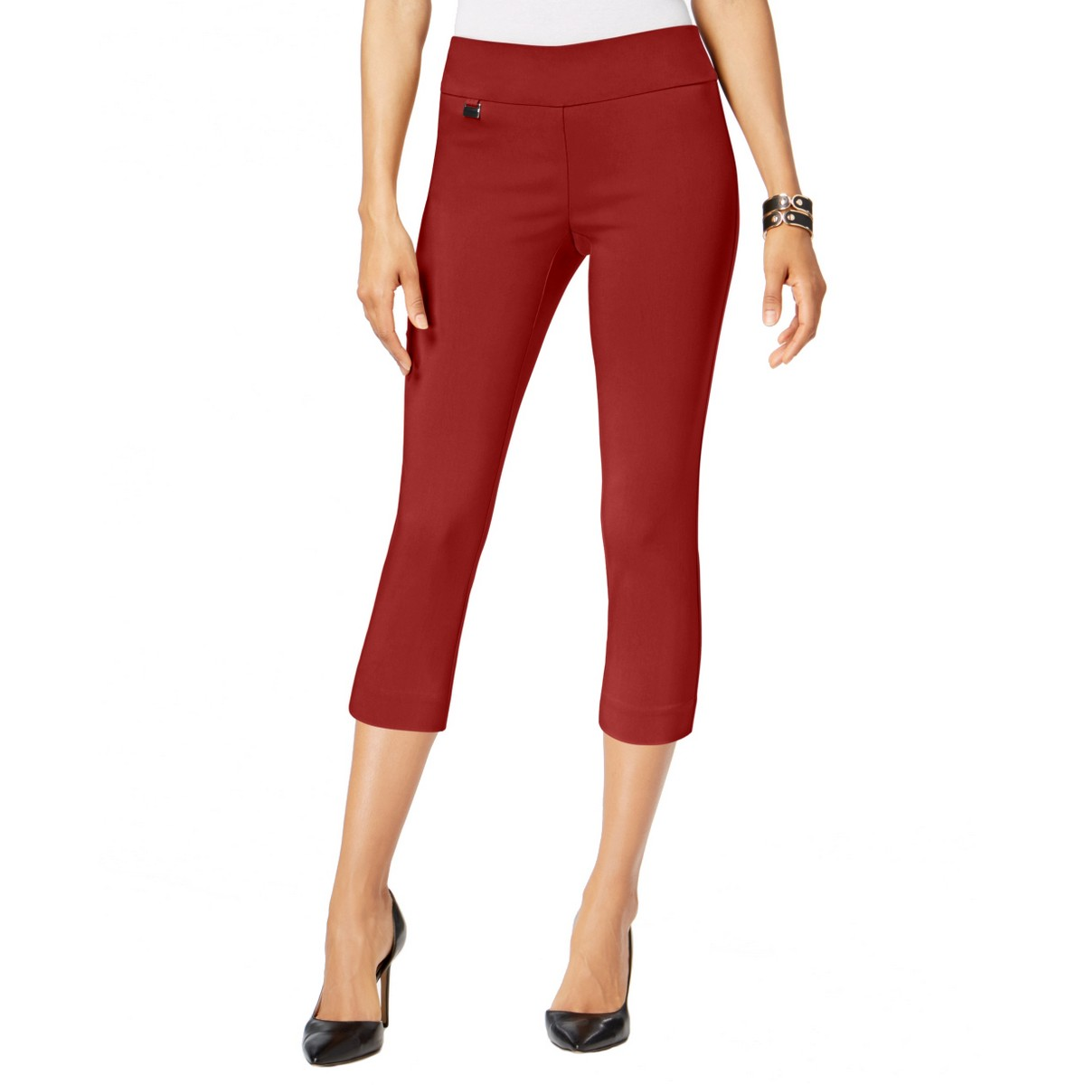 ALFANI NEW Women/'s Grey Tummy-control Pull-on Capris Cropped Pants TEDO