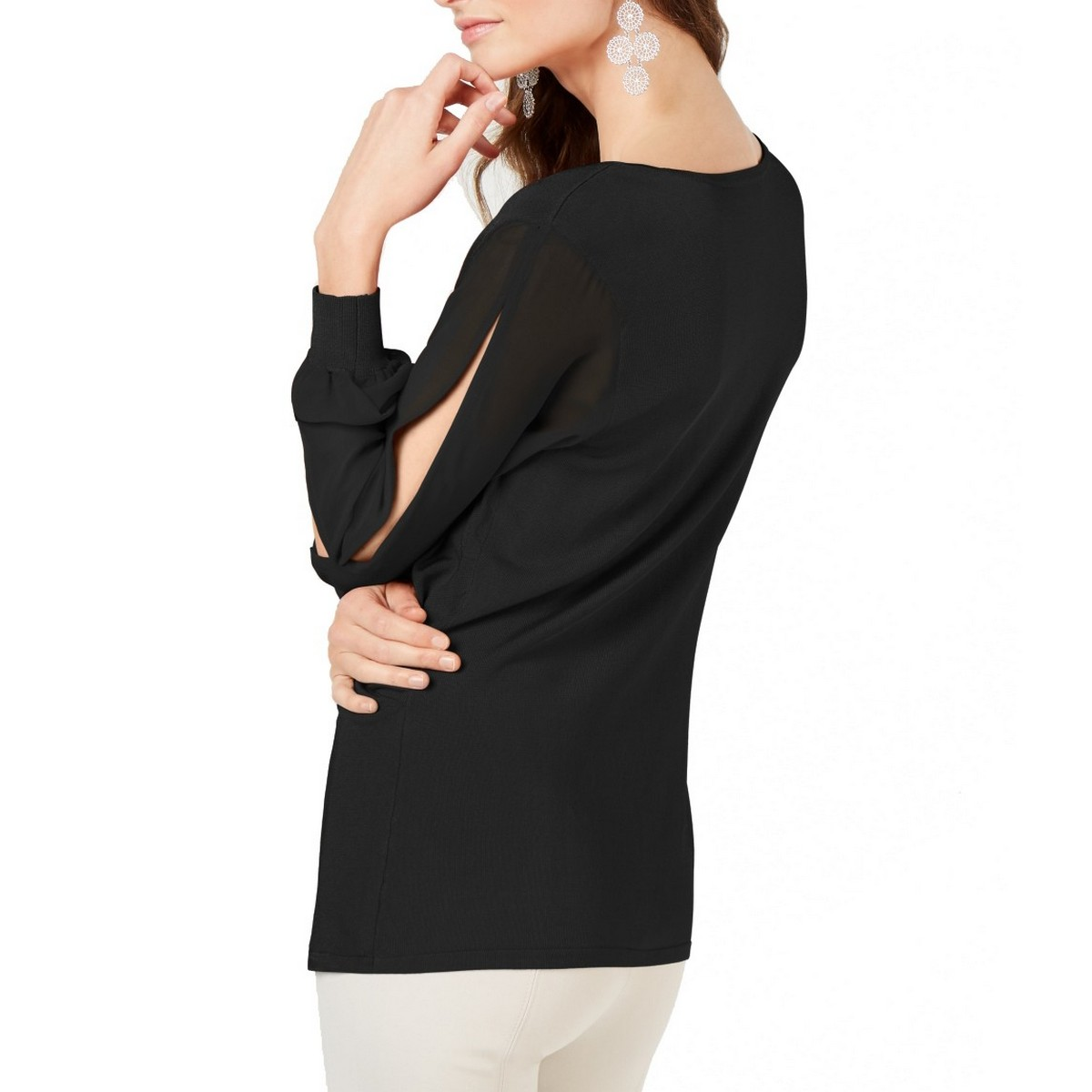 INC-NEW-Women-039-s-Surplice-Illusion-sleeve-Knit-Blouse-Shirt-Top-TEDO thumbnail 3