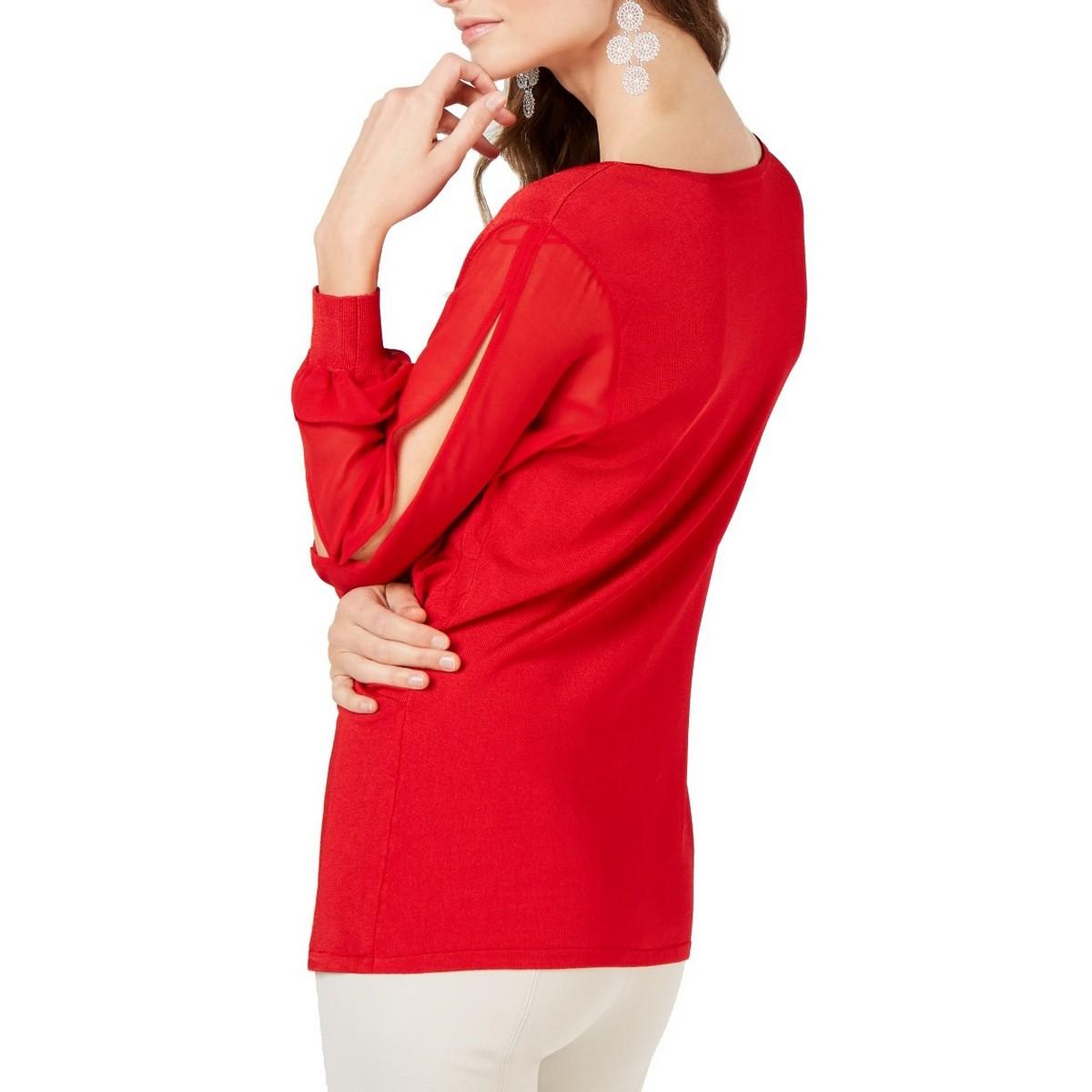 INC-NEW-Women-039-s-Surplice-Illusion-sleeve-Knit-Blouse-Shirt-Top-TEDO thumbnail 9