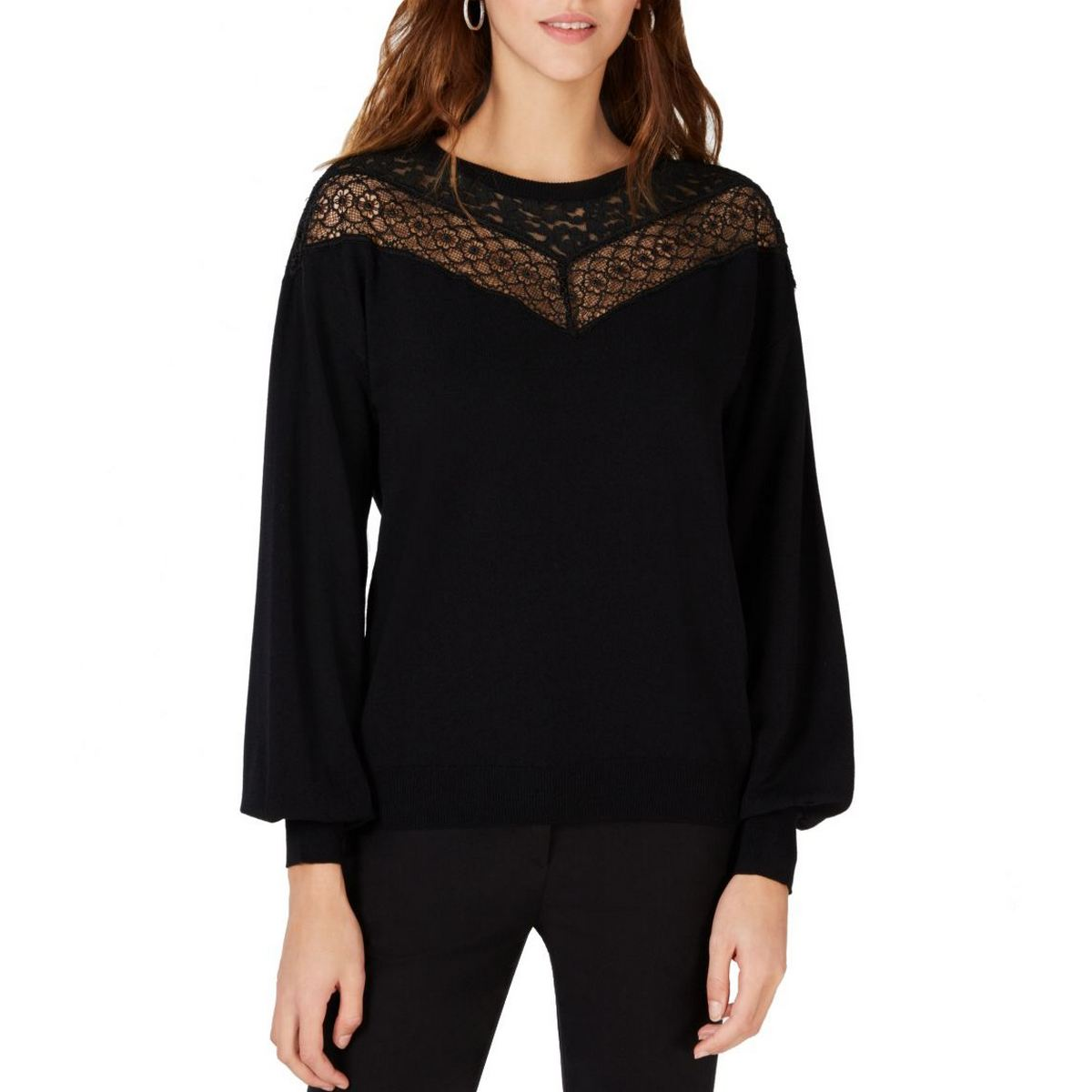 INC NEW Women/'s Black Floral Embroidered Lace Lantern Sleeve Sweater Top TEDO