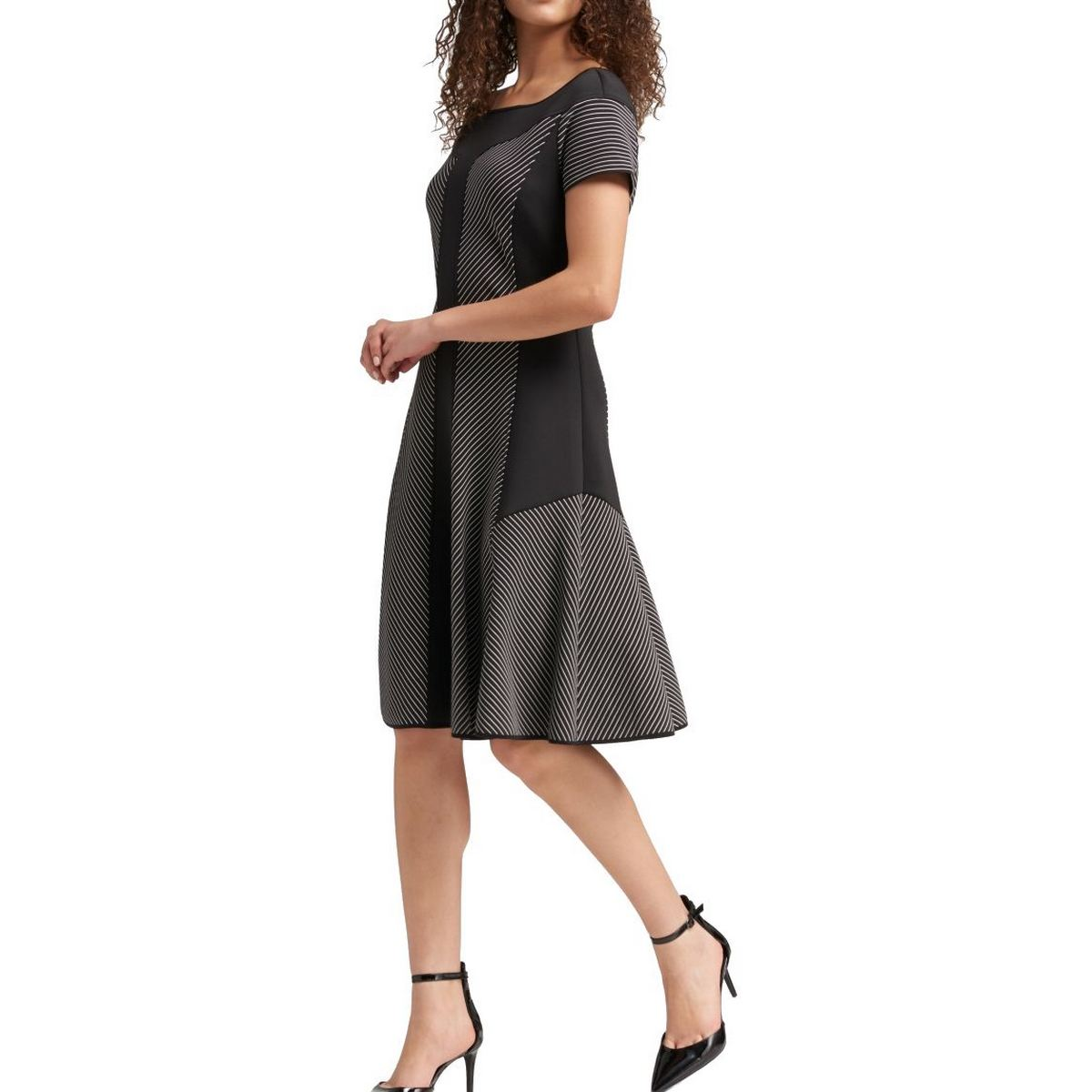 INC NEW Women/'s Tiered-sleeve Striped Sheath Dress TEDO
