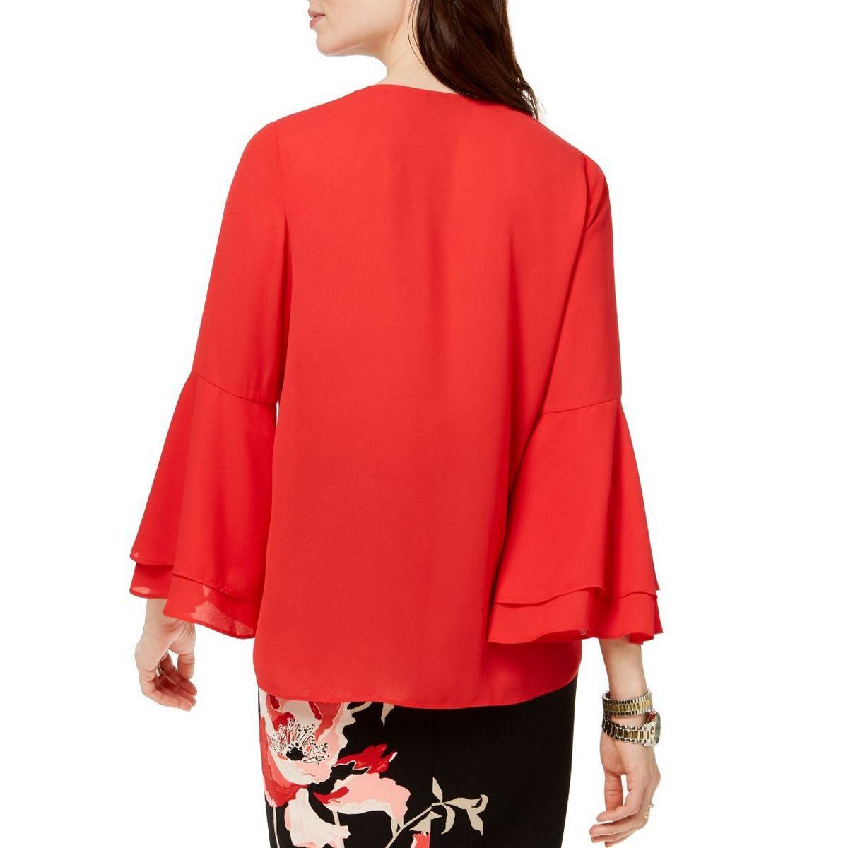 ALFANI-NEW-Women-039-s-V-neck-Bell-Sleeve-Blouse-Shirt-Top-TEDO thumbnail 5