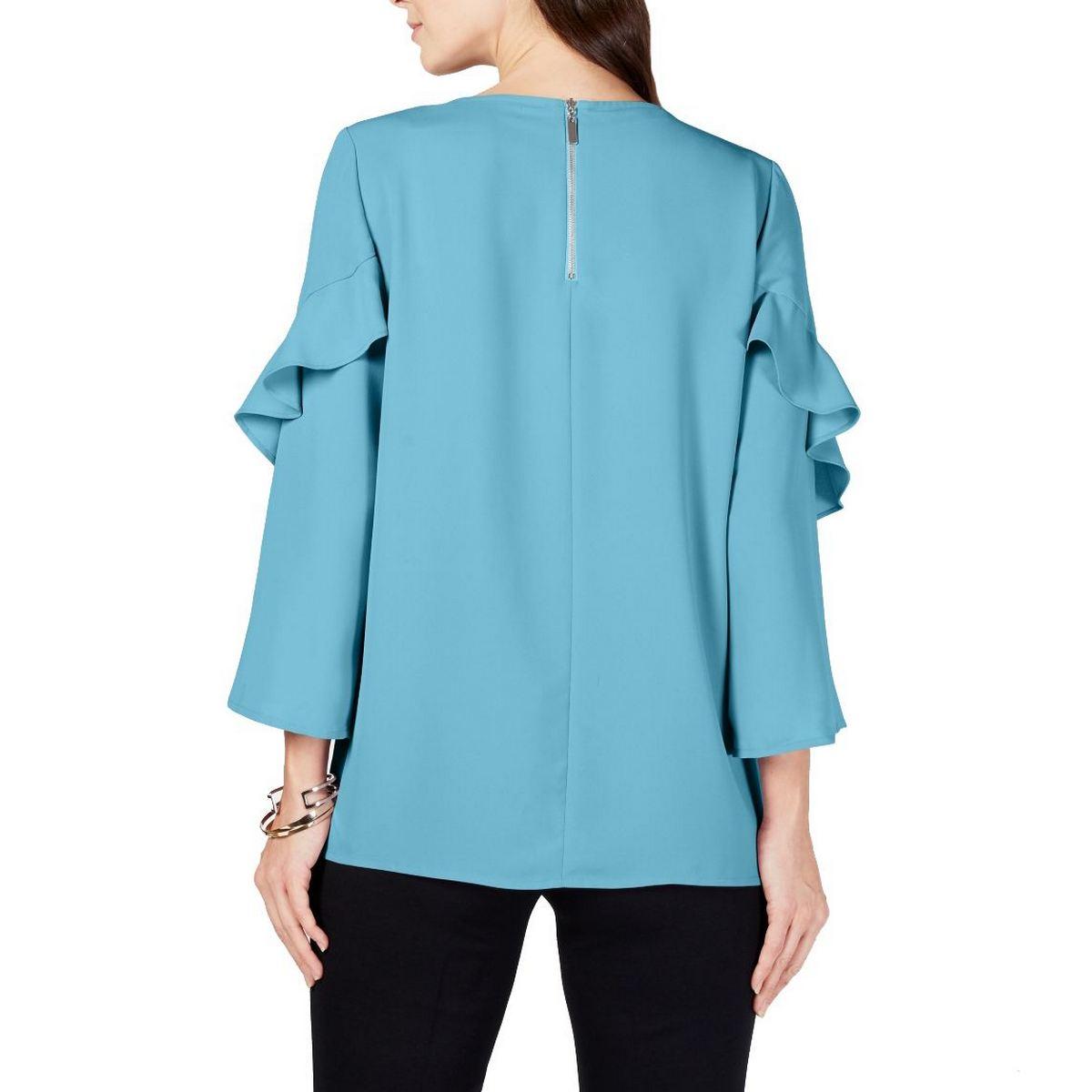 ALFANI-NEW-Women-039-s-3-4-Ruffled-sleeve-Zip-back-Blouse-Shirt-Top-TEDO thumbnail 4