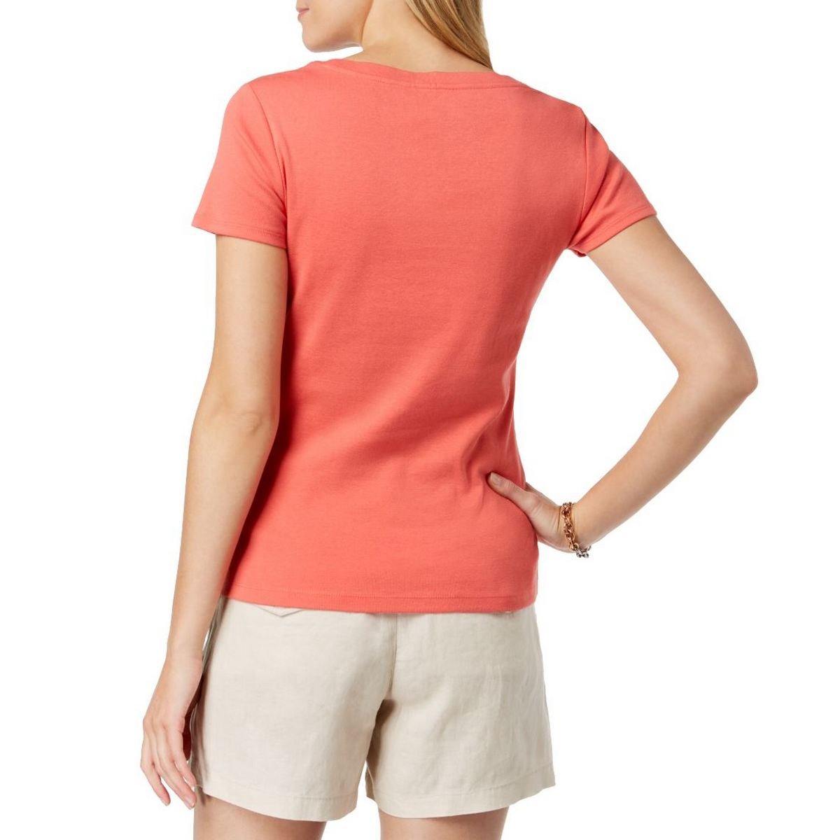 TOMMY-HILFIGER-NEW-Women-039-s-Cotton-Scoop-Neck-Casual-T-Shirt-Top-TEDO thumbnail 3