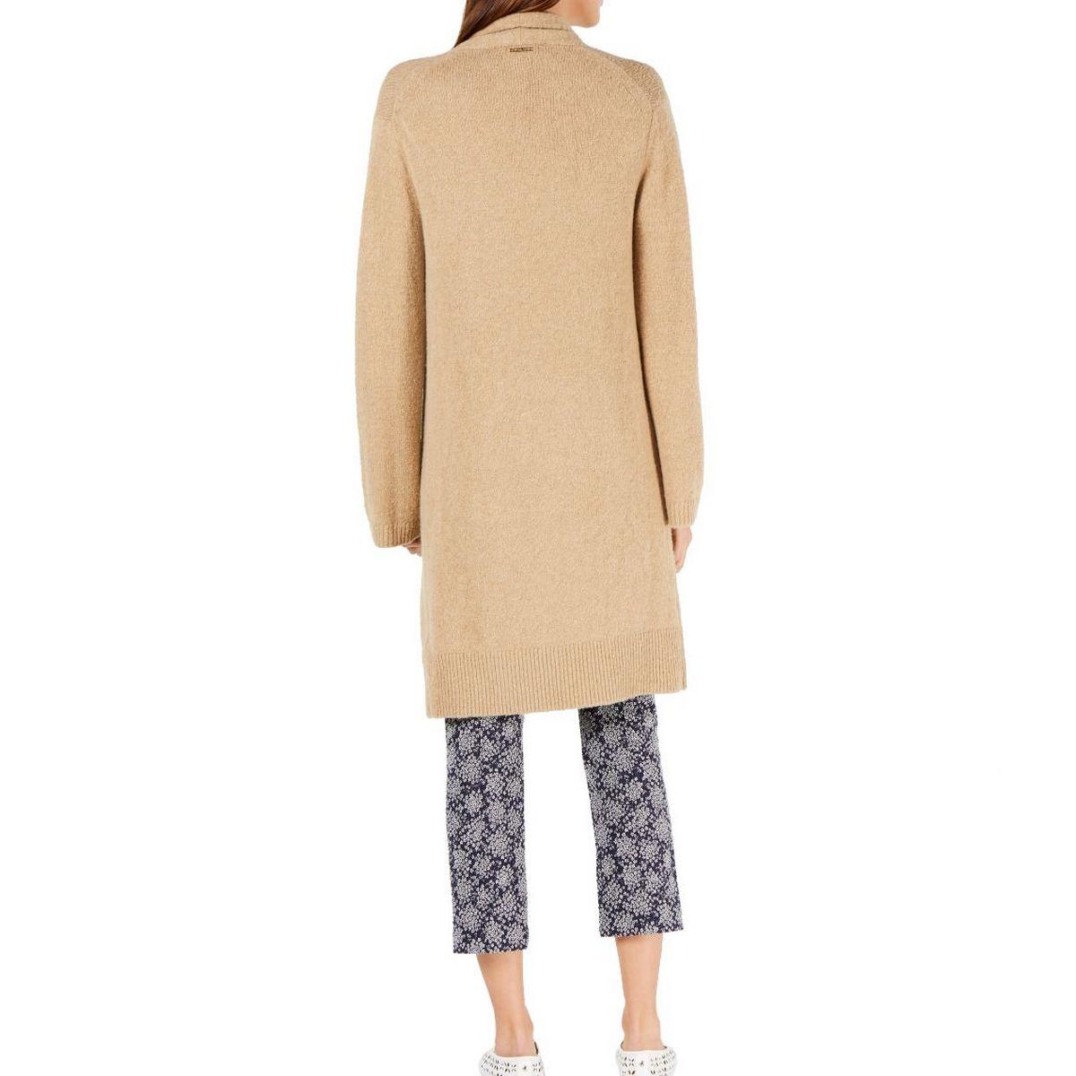 MICHAEL-KORS-Women-039-s-Wool-Blend-Open-front-Long-Cardigan-Sweater-Top-TEDO thumbnail 6