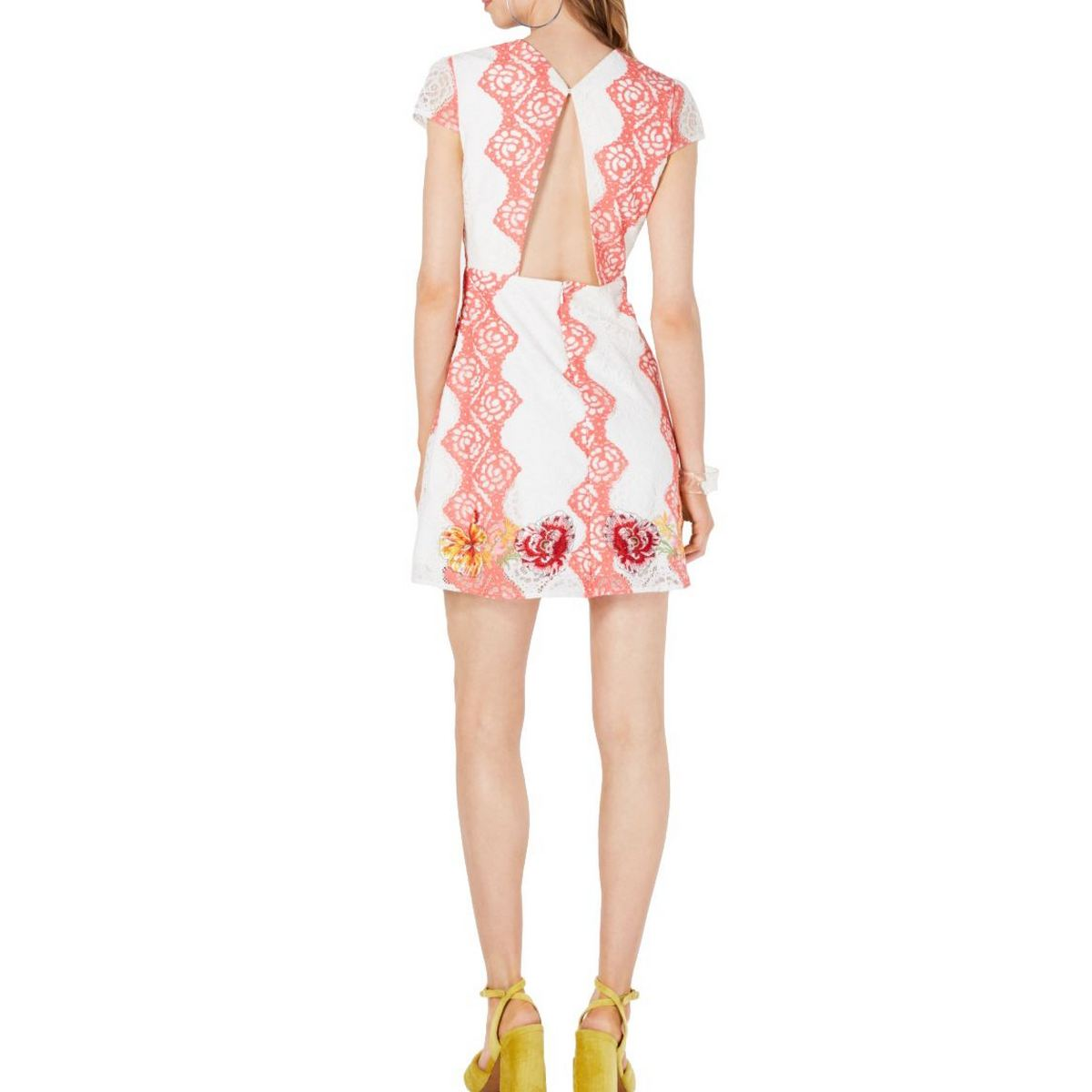 FOXIEDOX NEW Women/'s Embroidered Lace Open-back A-Line Dress TEDO