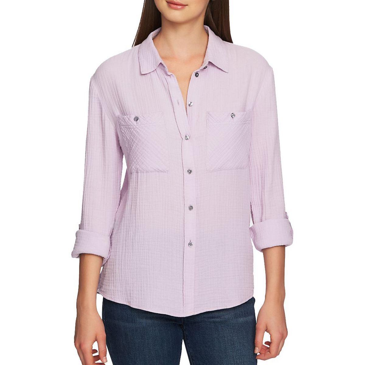 1 STATE NEW Women's Cotton Pocket Gauze Button Down Shirt Top TEDO