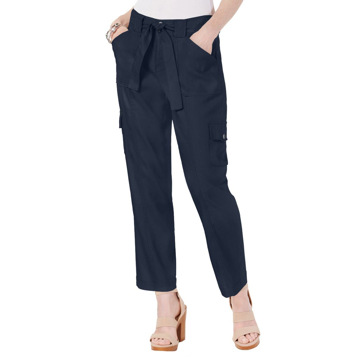 INC NEW Women's Linen-blend Cargo Paper Bag Ankle Casual Pan