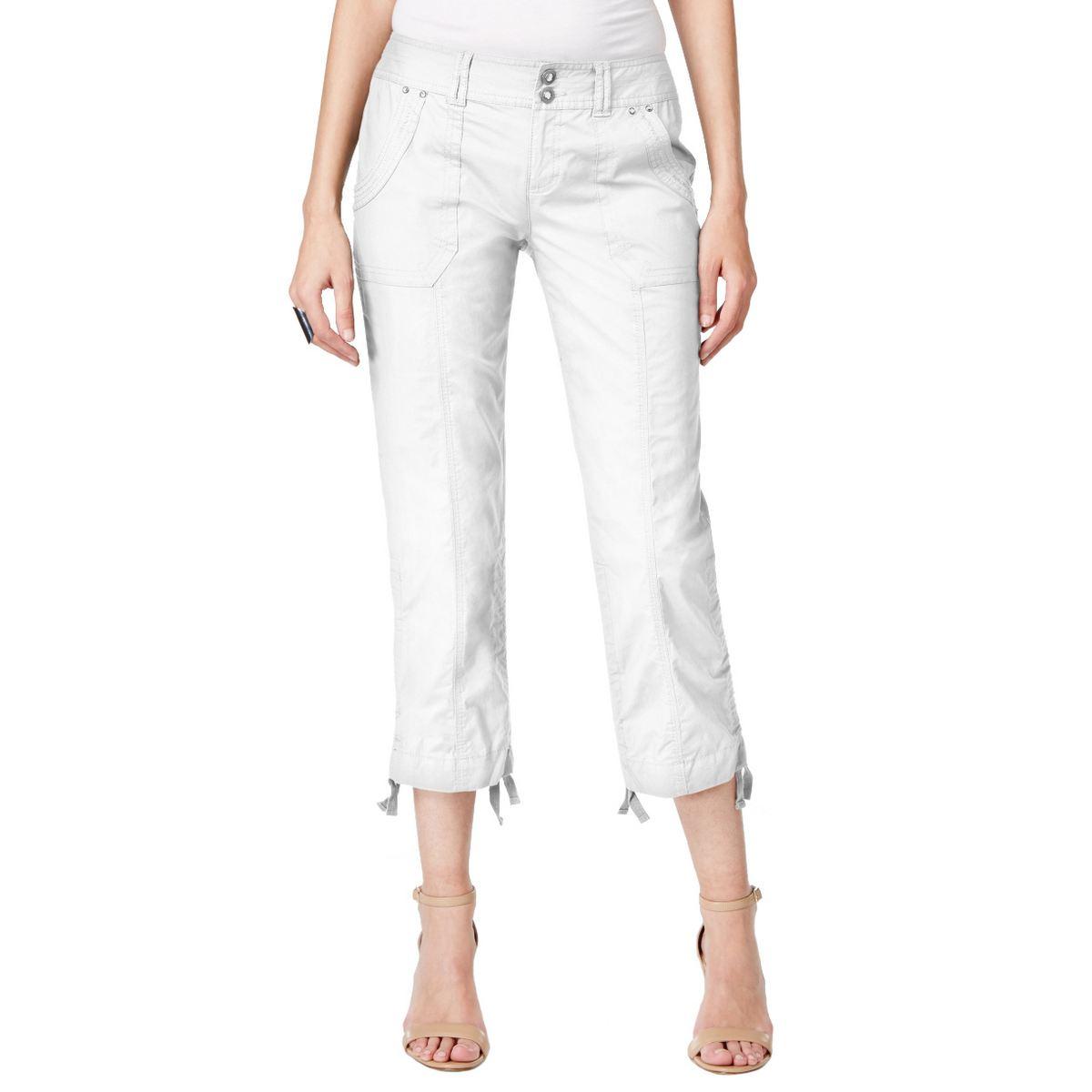 INC NEW Women's Curvy-fit Ruched Hem Cargo Capris, Cropped Pants TEDO