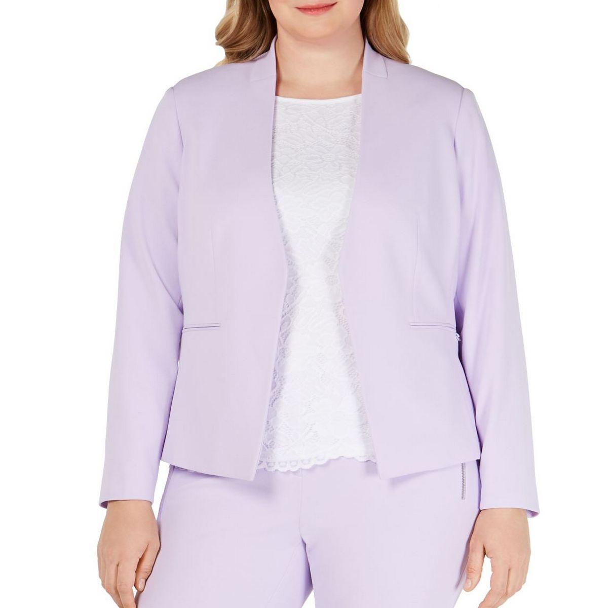 CALVIN KLEIN NEW Women's Plus Size Open-front Lined Blazer Jacket Top 24W TEDO