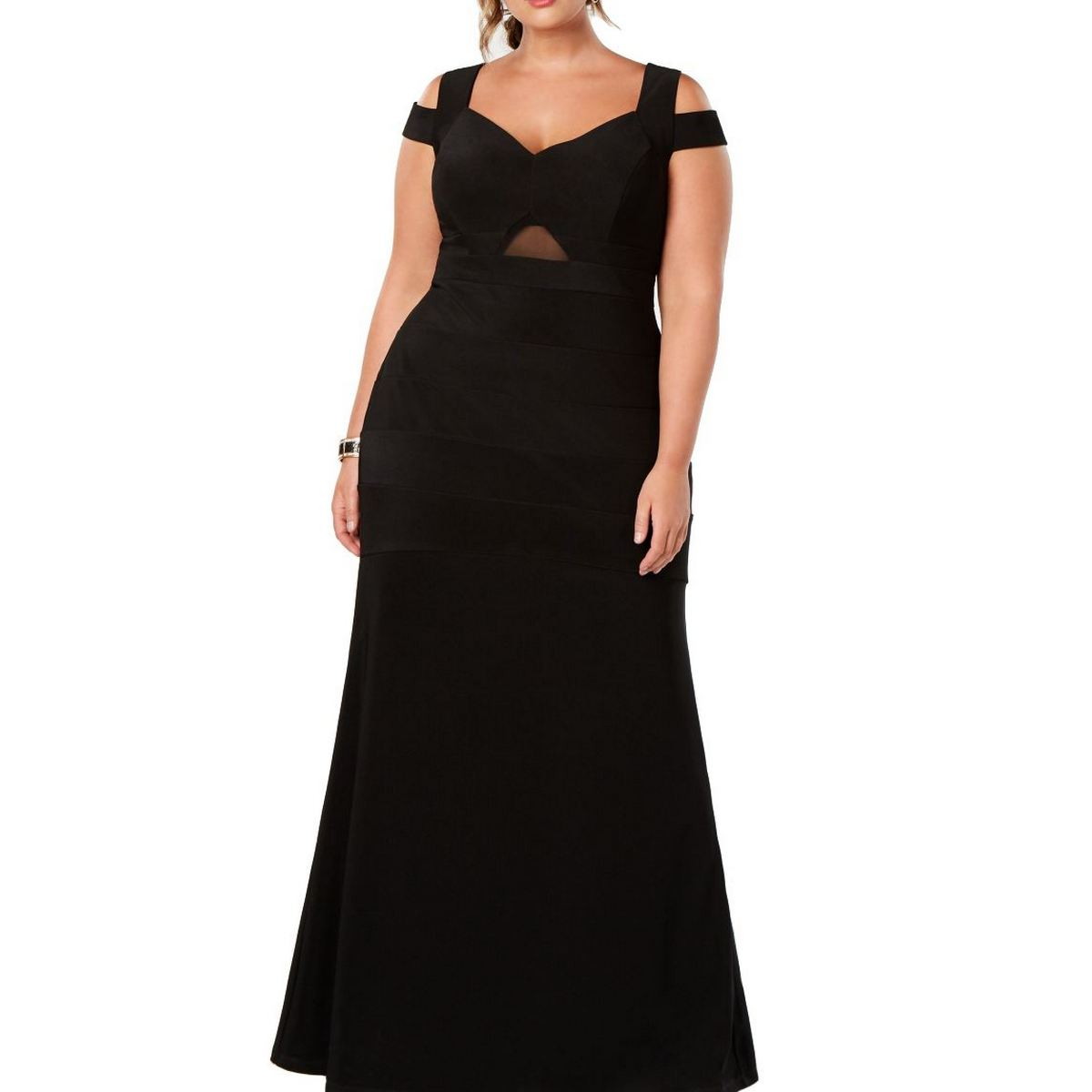 Emerald Sundae Women S Black Plus Size Cold Shoulder Evening Gown Dress 1x Tedo Ebay
