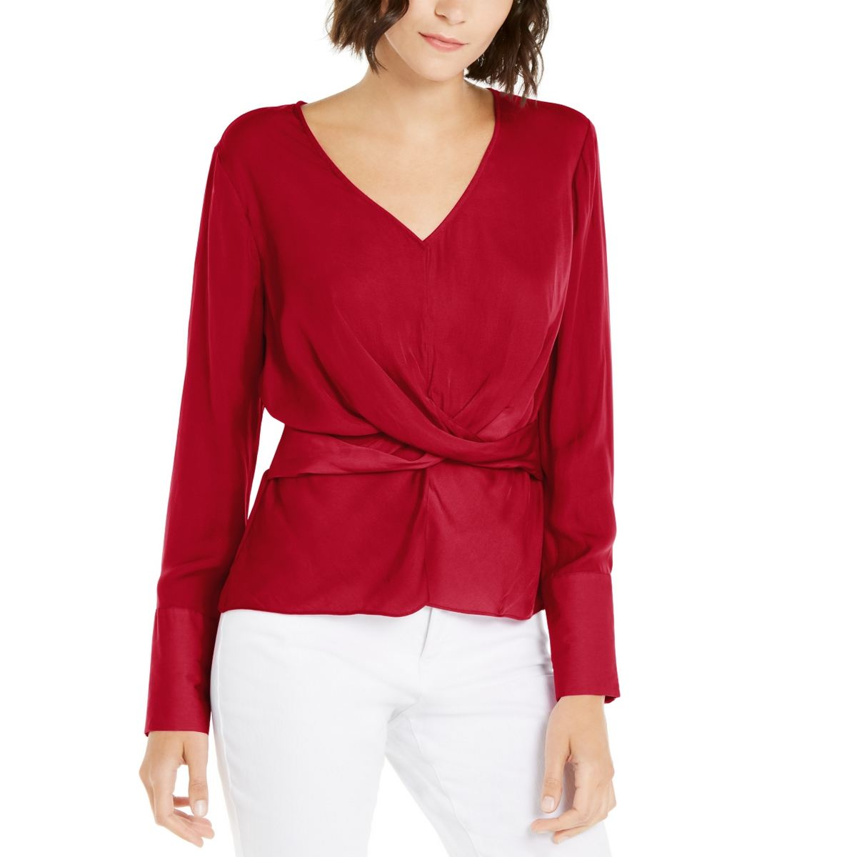 INC NEW Women/'s Solid Twist-front V-neck Blouse Shirt Top TEDO