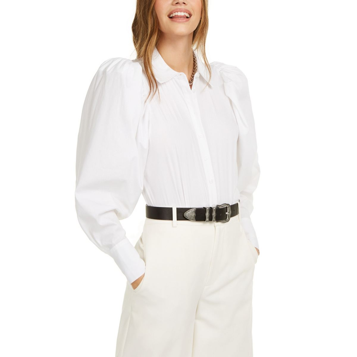 DANIELLE BERNSTEIN Women's Puff Sleeve Button-down Bodysuit Shirt Top XL TEDO